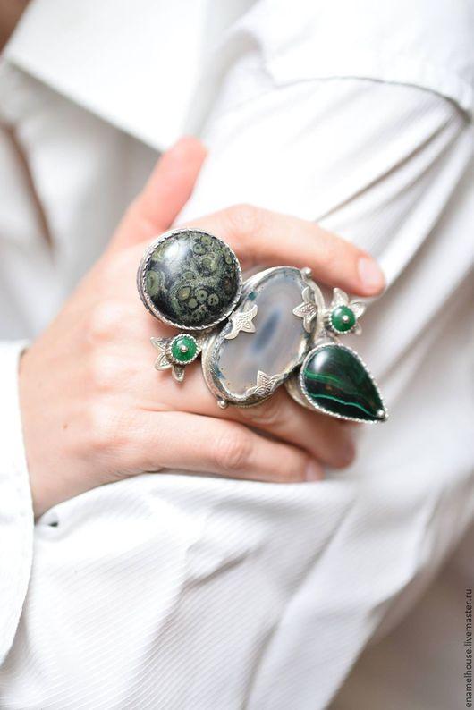 Кольца ручной работы. Ярмарка Мастеров - ручная работа. Купить Кольцо из малахита, агата и хризолита. Handmade. Комбинированный, сиреневый