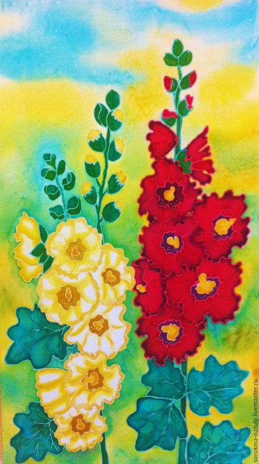 Картина батик `Мальвы 1`написана на ярком солнечном фоне со своим особым настроением и ноткой настольгии по нашим русским просторам.