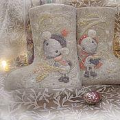 Обувь ручной работы. Ярмарка Мастеров - ручная работа Валенки с нежными мышками для милых малышек!. Handmade.