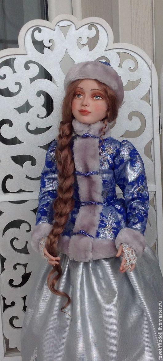 Коллекционные куклы ручной работы. Ярмарка Мастеров - ручная работа. Купить Снегурочка. Handmade. Серебряный, зима, козий тресс