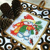 """Для дома и интерьера ручной работы. Ярмарка Мастеров - ручная работа Прихватка """"Снеговик"""". Handmade."""