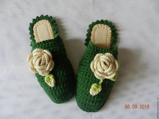 """Обувь ручной работы. Ярмарка Мастеров - ручная работа. Купить """"Молочные Розы"""" тапочки (подошва валяная). Handmade. Розы, подарок"""