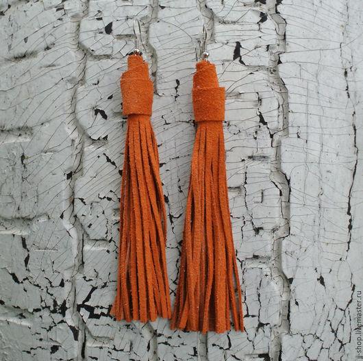 Серьги ручной работы. Ярмарка Мастеров - ручная работа. Купить Оранжевые Замшевые Серьги-Кисти (Indiana Orange). Handmade. Оранжевый