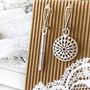 Украшения handmade. Livemaster - original item Earrings asymmetrical Pattern, silver, asymmetrical earrings. Handmade.