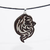 Украшения handmade. Livemaster - original item Wooden pendant inlaid with a silver