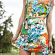 Пляжные платья ручной работы. Летнее платье-туника. LBclub. Интернет-магазин Ярмарка Мастеров. Цветочный орнамент, летнее платье