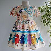 Платья ручной работы. Ярмарка Мастеров - ручная работа Платье и экосумочка в детский сад карандаши. Handmade.