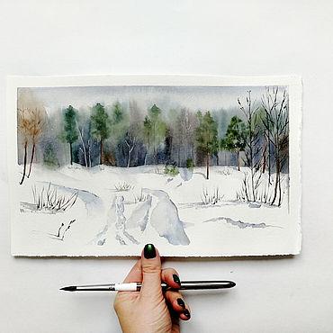Картины и панно ручной работы. Ярмарка Мастеров - ручная работа Зимний лес. Handmade.