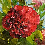 Картины и панно handmade. Livemaster - original item Red peony oil Painting 18х24 cm. Handmade.