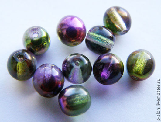 Для украшений ручной работы. Ярмарка Мастеров - ручная работа. Купить Бусины круглые fire polished Magic Violet-Green 6мм. Handmade.