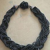 Украшения handmade. Livemaster - original item Multi-row necklace of black beads and crystals. Handmade.