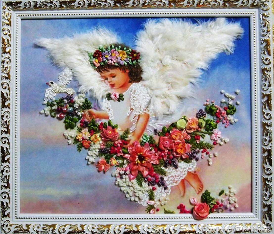 картины вышивка лентами Рождественские ангелочкички, Картины, Сочи,  Фото №1