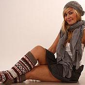"Одежда handmade. Livemaster - original item Knitted wool socks white red grey""Scandinavian autumn"". Handmade."