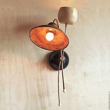 Для дома и интерьера ручной работы. Ярмарка Мастеров - ручная работа Настенный светильник из дерева и керамики с двумя плафонами. Handmade.