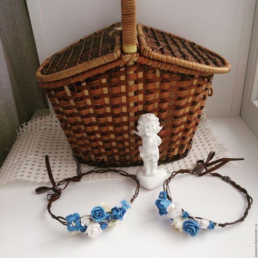 """Диадемы, обручи ручной работы. Ярмарка Мастеров - ручная работа. Купить Веночки для мамы и дочки """"Синее море"""". Handmade. Синий"""