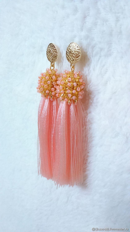Drop pink beaded and silk brush earrings, Tassel earrings, Podolsk,  Фото №1