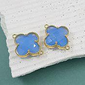 Материалы для творчества handmade. Livemaster - original item Connector Flower 19x15x5mm blue/gold plated (4657). Handmade.