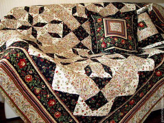 Текстиль, ковры ручной работы. Ярмарка Мастеров - ручная работа. Купить Покрывало Жасмин. Handmade. Бежевый, черный, синтепон