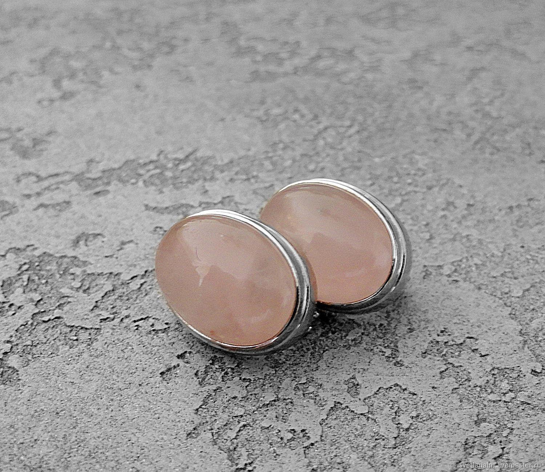 Rose QUARTZ CLASSIC earrings, Earrings, Kiev,  Фото №1