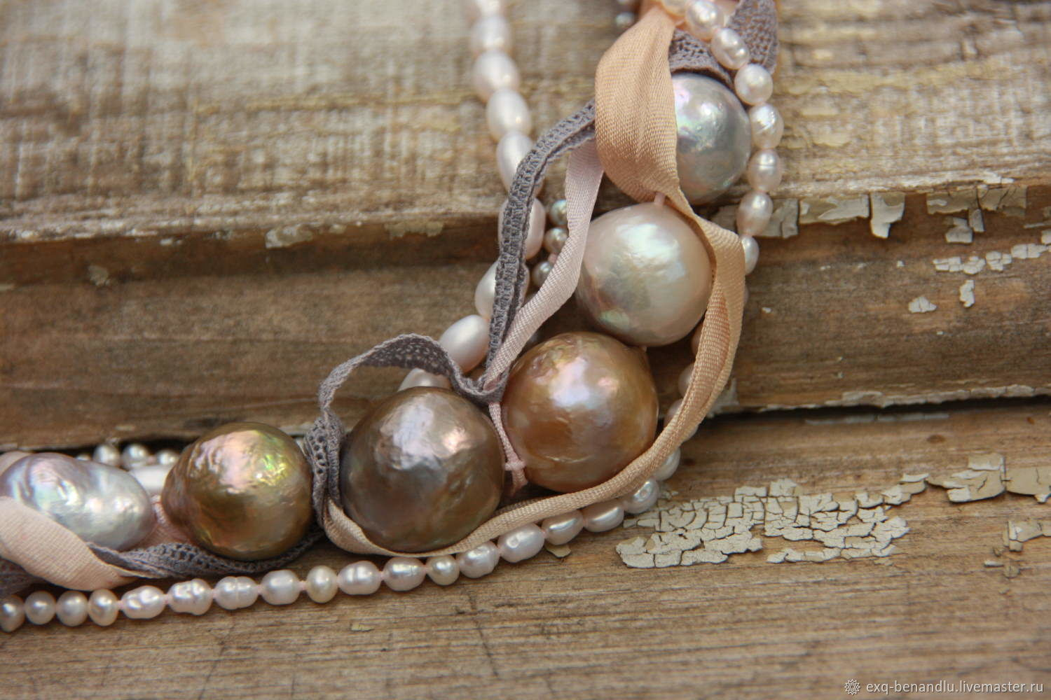Necklace Feeling of Japan. Baroque pearl, silver, silk, Necklace, St. Petersburg,  Фото №1