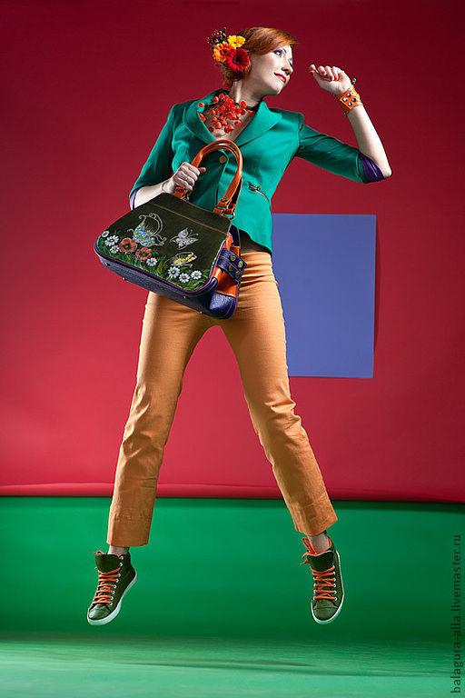 """Женские сумки ручной работы. Ярмарка Мастеров - ручная работа. Купить Саквояж """"Бабочки"""". Handmade. Цветочный, стильная сумка, цветы"""