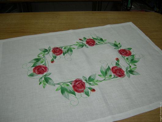 """Текстиль, ковры ручной работы. Ярмарка Мастеров - ручная работа. Купить салфетка """"розы"""". Handmade. Белый, салфетка с розами, лён"""