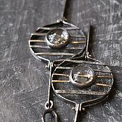 Украшения ручной работы. Ярмарка Мастеров - ручная работа ПАРАД ПЛАНЕТ очень крупные  серьги (кварц, серебро, золото). Handmade.