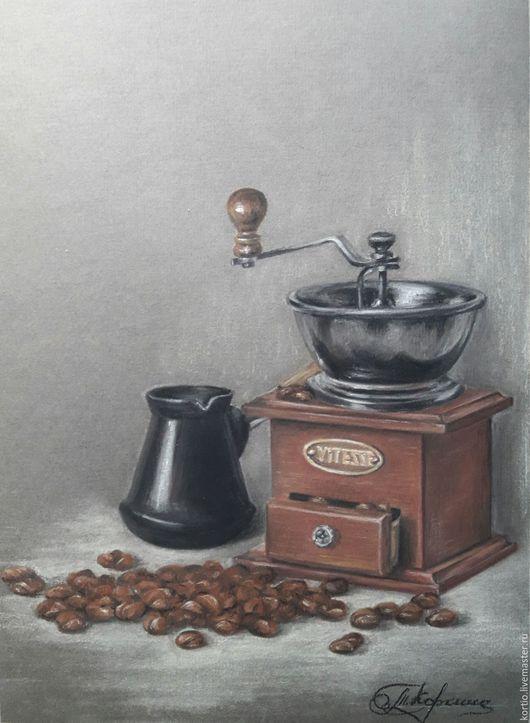 """Натюрморт ручной работы. Ярмарка Мастеров - ручная работа. Купить """"Кофейный натюрморт"""". Handmade. Коричневый, кофе, пастель, Пастельная бумага"""