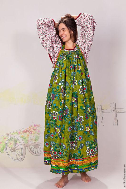 Платья ручной работы. Ярмарка Мастеров - ручная работа. Купить Сарафан круглый узоры. Handmade. Зеленый, сарафан летний