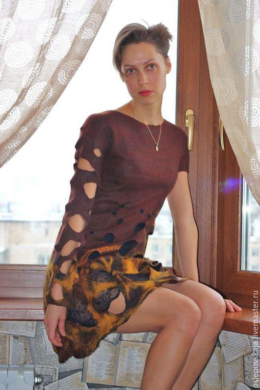 Платья ручной работы. Ярмарка Мастеров - ручная работа. Купить Войлочное платье Кофе и шафран. Handmade. Коричневый, оригинальный сарафан