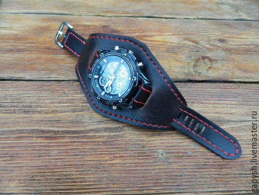 Часы ручной работы. Ярмарка Мастеров - ручная работа. Купить Браслет для часов. Handmade. Коричневый, кожа, браслет, ремешок для часов