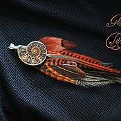 Украшения handmade. Livemaster - original item Pendant with feathers and ammonite. Handmade.