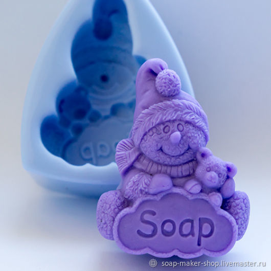 Silicone mold for soap 'Snowman', Form, Shahty,  Фото №1