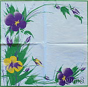Материалы для творчества handmade. Livemaster - original item Napkin for decoupage flowers blue background theme. Handmade.