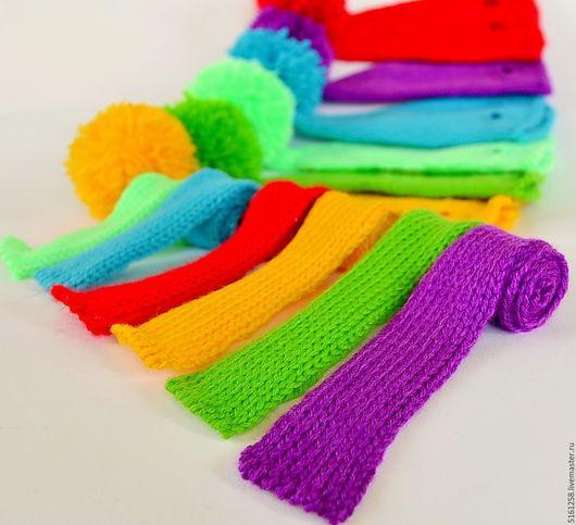 Одежда для кукол ручной работы. Ярмарка Мастеров - ручная работа. Купить Комплект одежды для игрушек - вязаные шапочки для котиков и зайцев. Handmade.