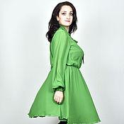 Одежда ручной работы. Ярмарка Мастеров - ручная работа Платье ярко-зеленое из шифона. Handmade.
