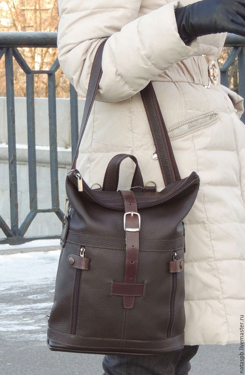 75a16e90f50b Backpack womens brown leather Renata – shop online on Livemaster ...