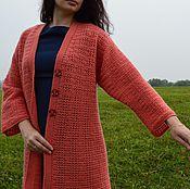 Одежда ручной работы. Ярмарка Мастеров - ручная работа Пальто вязаное коралловое крючком. Handmade.