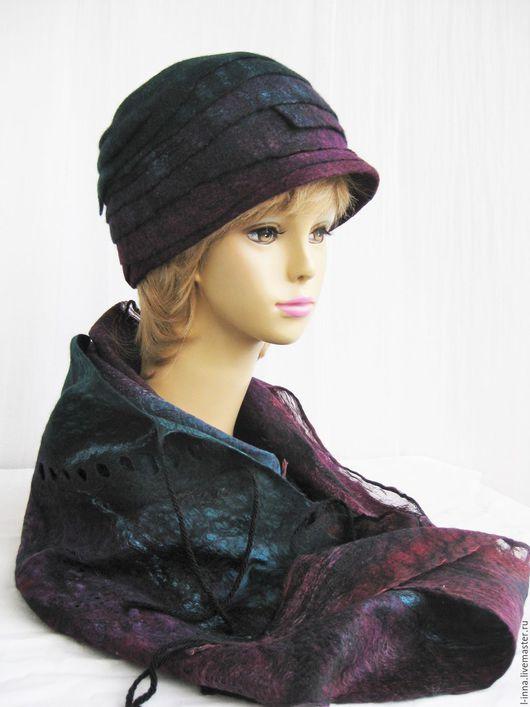 Шапки ручной работы. Ярмарка Мастеров - ручная работа. Купить Изумрудная соната шапка валяная с бактусом палантином. Handmade.