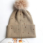 Аксессуары handmade. Livemaster - original item Merino wool hat with swarovski pearls and fur pompom. Handmade.