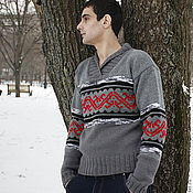 "Одежда handmade. Livemaster - original item Men`s knitted sweater ""Grey and bright"". Handmade."