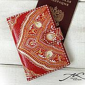 Канцелярские товары handmade. Livemaster - original item Passport cover document holder genuine leather Red painting. Handmade.