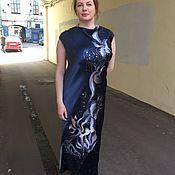 Батик платье ноктюрн с ручной росписью