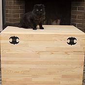 Для дома и интерьера ручной работы. Ярмарка Мастеров - ручная работа Большой сундук-короб из лиственницы. Handmade.