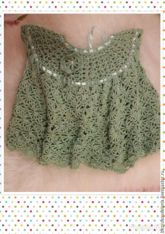 Одежда для девочек, ручной работы. Ярмарка Мастеров - ручная работа. Купить Зеленое платье для девочки ажурной вязкой крючком с ленточками. Handmade.