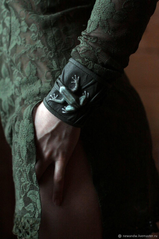 3D genuine leather Bracelet 'Frog', Cuff bracelet, Moscow,  Фото №1