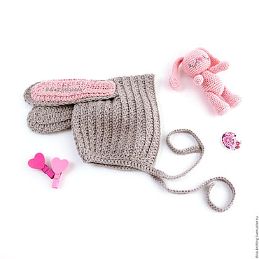 Clothing handmade. Livemaster - original item knitted beanie Bunny with long ears for girls gray. Handmade.