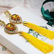 Украшения handmade. Livemaster - original item Earring of the brush hand embroidery yellow gold Gold sun. Handmade.