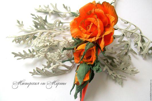 Заколки ручной работы. Ярмарка Мастеров - ручная работа. Купить Розы из фоамирана.Украшения для волос.Заколка-зажим. Handmade. Роза