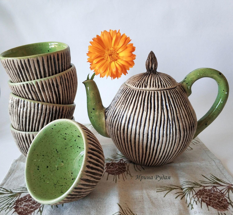 """Сервизы, чайные пары ручной работы. Ярмарка Мастеров - ручная работа. Купить Чайный сервиз """"Пикник на траве"""". Handmade. Природа"""